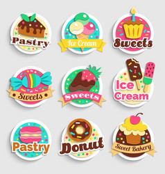 sweets desserts pastry labels set vector image
