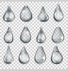 Transparent gray drops vector