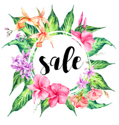 Vintage floral tropical sale card vector