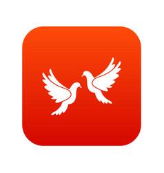 wedding doves icon digital red vector image