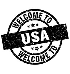 Welcome to usa black stamp vector