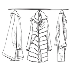 Woman coats for winter clothes sketch vector