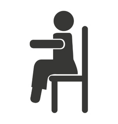 Human figure silhouette siting in chair vector