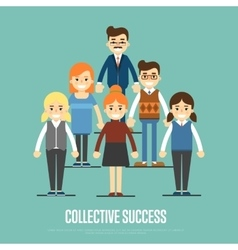 Collective success banner with business peole vector