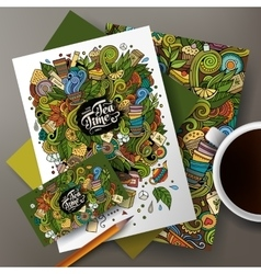 Cartoon doodles tea corporate identity set vector