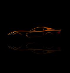 orange sport car silhouette vector image