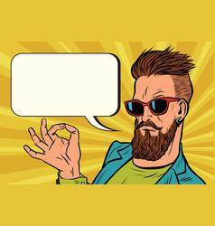 Ok okay gesture hipster vector