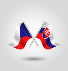 Two crossed czech and slovak flags vector