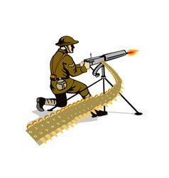 Soldier aiming machine gun vector
