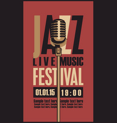 Poster for a jazz festival live music with mic vector