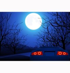 Sport car on night road vector image