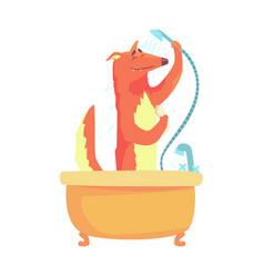 Cute cartoon fox taking a shower red fox washing vector
