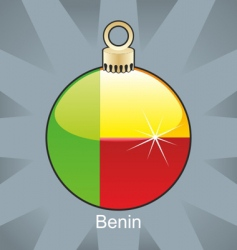 Benin flag on bulb vector image