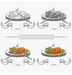 Set of different images of salmon vector