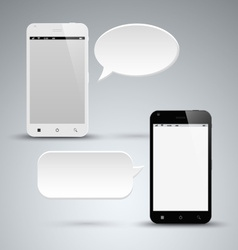 Abstract black and white smart phone with dialog vector