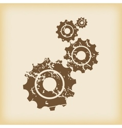 Grungy gears icon vector