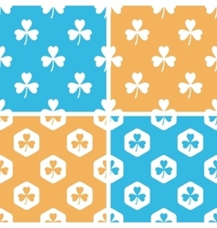 Clover pattern set colored vector