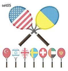 Tennis rackets and flags vector