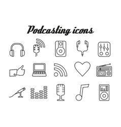 Audio podcasting icons vector