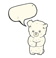 Cute cartoon polar bear with speech bubble vector
