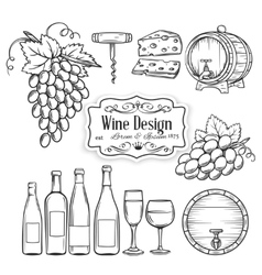 Hand draw wine icons set on white vector