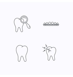 Tooth dental braces and toothache icons vector