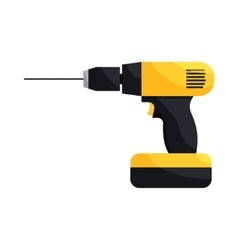 Yellow hand drill icon cartoon style vector