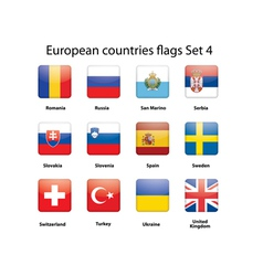 European countries flags set 4 vector