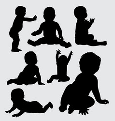 Baby cute silhouette vector