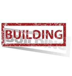 Building outlined stamp vector