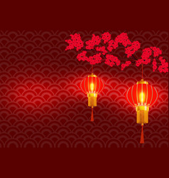 chinese new year on the branchy blossoming red vector image vector image
