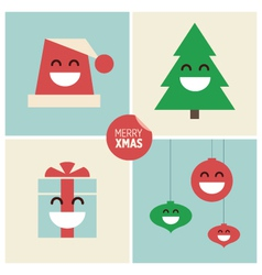 Christmas cartoon design elements vector image vector image