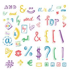 Colorful social media sign and symbol doodles set vector