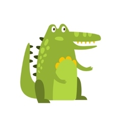 Crocodile sitting straight like man flat cartoon vector