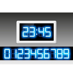 Digital clock with a set of numbers vector