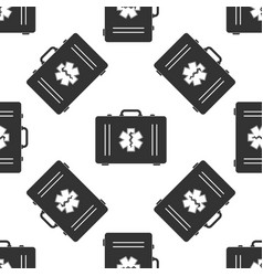 first aid box and star of life seamless pattern vector image