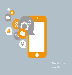 Flat mobile phone with social media icons vector