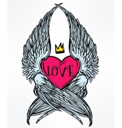 Heart with angel wings and crown vector image