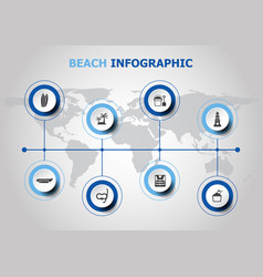 Infographic design with beach icons vector
