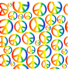 peace symbol with circular rainbow gradient vector image