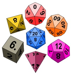 Polyhedral dices 4 6 8 10 12 20 D10 vector image