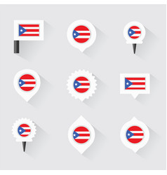Puerto rico flag and pins for infographic and vector
