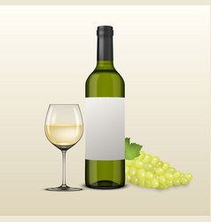 Realistic grapes brunch wine glass and vector