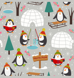 seamless pattern with penguins vector image vector image