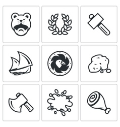 Set of Viking life Icons Barbarian Laurel vector image vector image