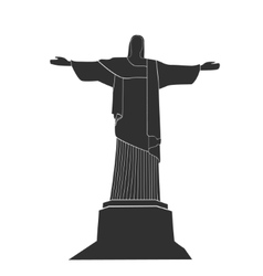 Silhouette of statue of christ in rio de janeiro vector