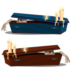 skeleton coming out of wooden coffin with candles vector image vector image