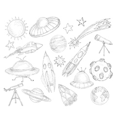 Space objects sketch set vector