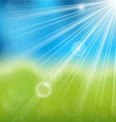 Spring nature background with lens flare vector