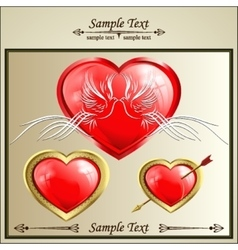 Two doves on a red heart vector